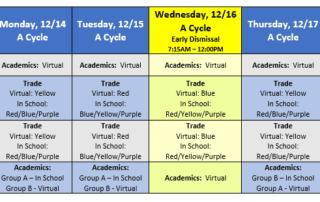 Hybrid schedule for week of 12/14/2020