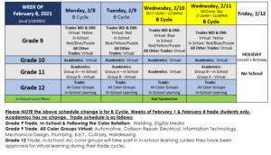 Weekly Calendar - 2-8-21