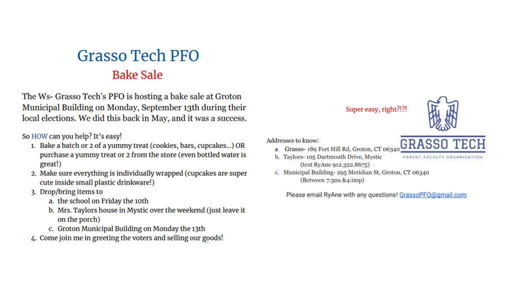 PFO Bake Sale Information September 2021