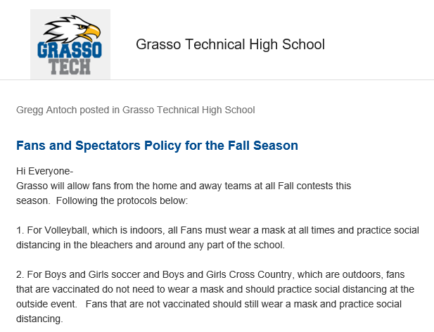 Fan masking policy for the fall sports season